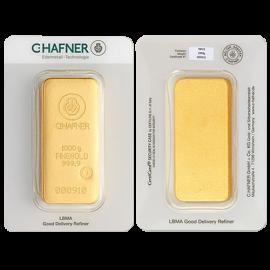 Lingote de oro C.HAFNER de 1 kilo en blister