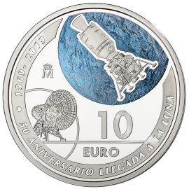 """Moneda de plata """"50 Aniversario de la Llegada a la Luna"""""""